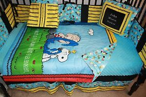 5 Piece Charlie Brown Crib Bedding Free Personalized Pillow Ebay