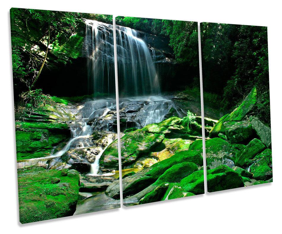 Waterfall Rain Forest Grün Picture TREBLE CANVAS WALL ART Print