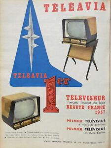 PUBLICITE-DE-PRESSE-1957-TELEAVIA-TELEVISEUR-FRANCAIS-A-VISIERE-ET-EN-CHENE