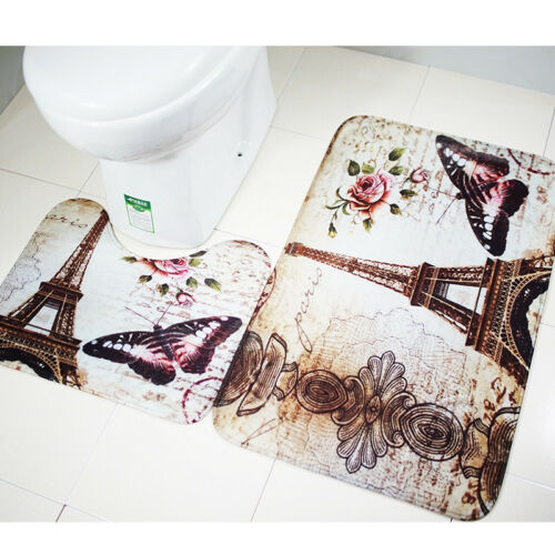 Home Paris Eiffel Tower Toilet Seat Non-Slip Rug+Bathroom Mat Pad Carpet Kit UK