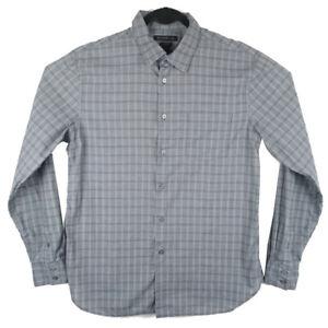 John-Varvatos-Mens-Luxe-Long-Sleeve-Gray-Plaid-Button-Up-Shirt-Size-XL