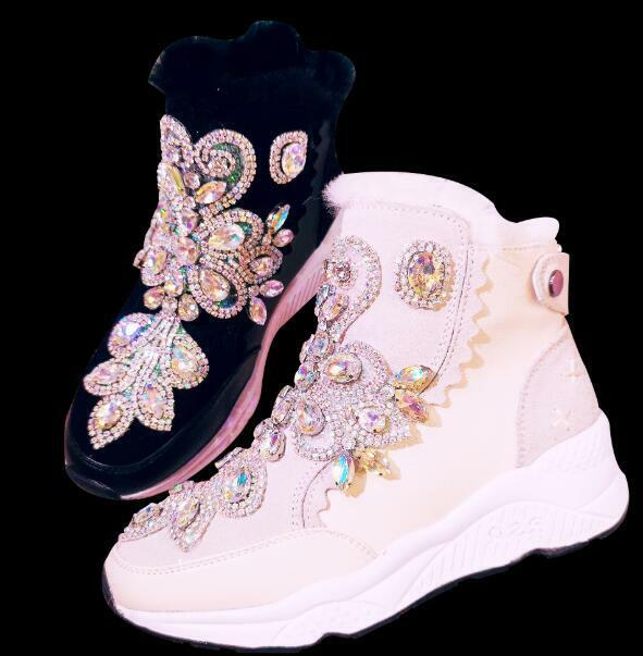 Donna Thicken Wool Fleece Lined Fur Ankle Ankle Fur Snow Stivali Rhinestones  G115 300d0e