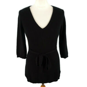 F-amp-F-10-Long-Black-Belted-100-Pure-Cashmere-Jumper-Tunic-Tie-Waist-1-2-Sleeve