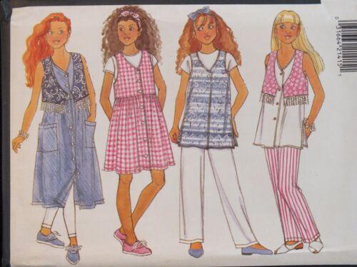 Easy OOP BUTTERICK 3965 Girls Vest Dress Top /& Pants PATTERN 7-8-10//12-14 UC