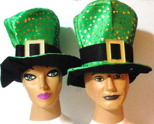 ST PATRICKS DAY IRISH HAT w//GOLD BUCKLE /& GOLD SHAMROCKS..IRISH COSTUME ACCESSOR
