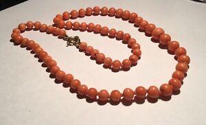Mediterranean-Salmon-Red-Natural-Coral-Beads-9ct-9k-Gold-Clasp-Bracelet-18-9g