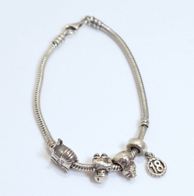 4d252f681e7 Genuine Pandora Sterling Silver Lobster Clasp Bracelet With 4 Charms ...