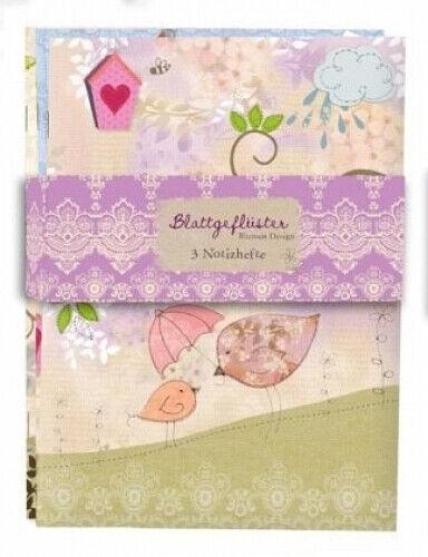 Blattgeflüster Blumen-Design 3er Set Notizhefte