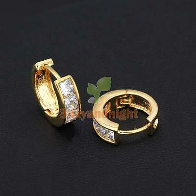 Fashion Simple Design 18K Gold Plated White Crystal Small Hoop Earrings NIGH