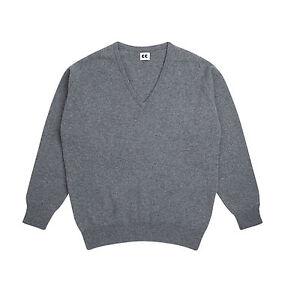 Community-Clothing-Women-039-s-Grey-Wool-V-Neck-Jumper