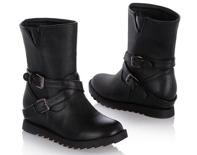 Stiefeletten Stiefel Flachem Absatz cm 4.5 Schwarz Heiß Komfortabel Leder