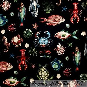 BonEful-Fabric-FQ-Cotton-Quilt-Black-Red-Lobster-Fish-Coral-Reef-Sea-Horse-Crab