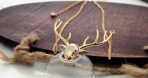 Noël Poudlard Harry Potter Elk Cristal Alliage Collier Femmes Cadeau