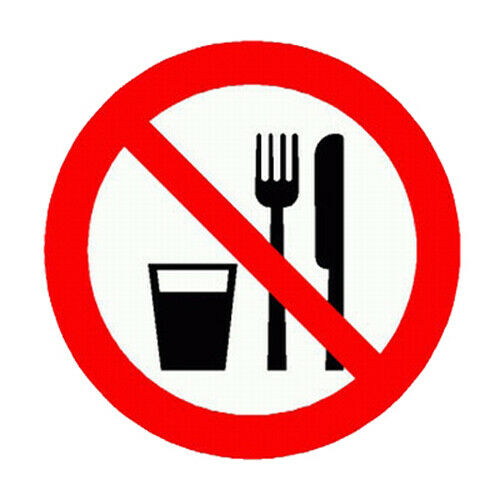 """Prohibition Sign Prohibition Sign /""""EATING AND DRINKING PROHIBITED/"""" Foil 200 MM"""