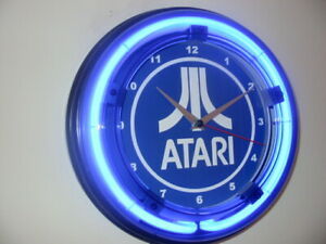 Atari-2600-Video-Game-Console-Arcade-Bar-Man-Cave-Blue-Neon-Wall-Clock-Sign