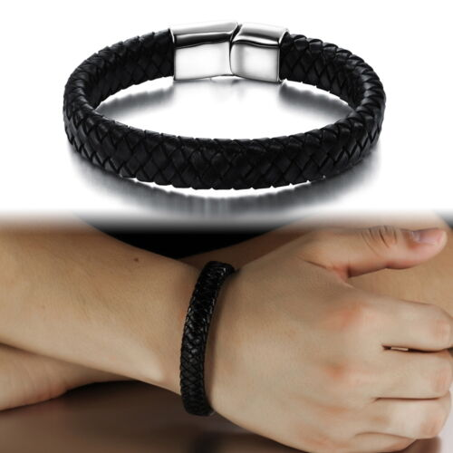 Mens All Black Genuine Leather Wristband Bracelet Stainless Steel Surfer