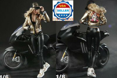 """1//6 Scale Motorcycle Black Leather Jacket Pants Hat For 12/"""" Female Figure ❶USA❶"""