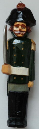 Russian  SOVIETMADE hand carved painted wooden CHRISTMAS ornament SOLDIER  #5