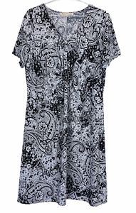 Noni B Womens Black/White Floral Short Sleeve Dress Size XL