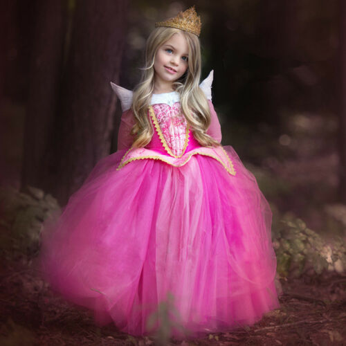 Kids Girls Sleeping Beauty Princess Aurora Cosplay Costume Party Fancy Dress