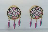 Hot Metal Golden Dreamcatcher Feather Dangle Ear Plug Sizes:.( 2 To 1 Inch )