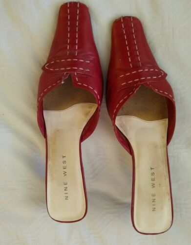 Vintage 90s Red Mules Shoes 9.5M Shaped Heel - image 1