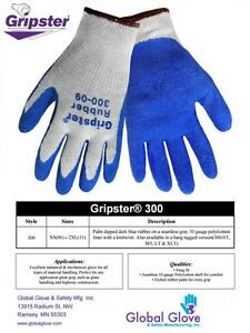 Global Glove Gripster® 300 Blue Rubber Coated Gloves, 12 Pair, S-2XL