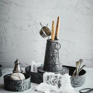 Tray-Vintage-Metal-Antique-Wrought-Iron-Vase-Decoration-Round-Retro-Bread-Plate