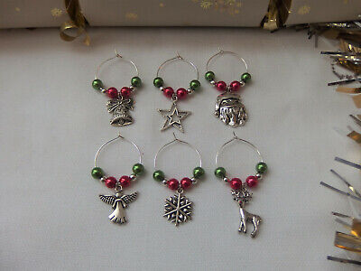 Christmas Wine Glass Charms x 6 Secret Santa Party Gift Table Decoration