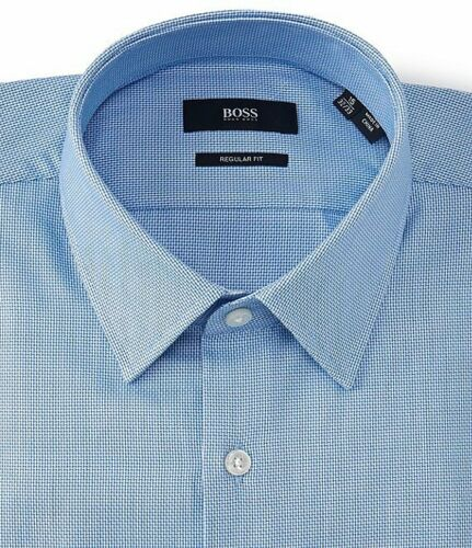 HUGO BOSS ENZO US BLACK LABEL DRESS SHIRT REGULAR FIT POINT COLLAR BLUE NWT