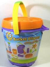 Purple Pail Bucket Playset 14 Pcs Sand Water Molds Shovels Orange Whale Sifter
