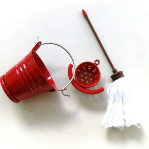 1 Set 1:12 dollhouse miniature mop bucket dollhouse pretend play furniture toyPL