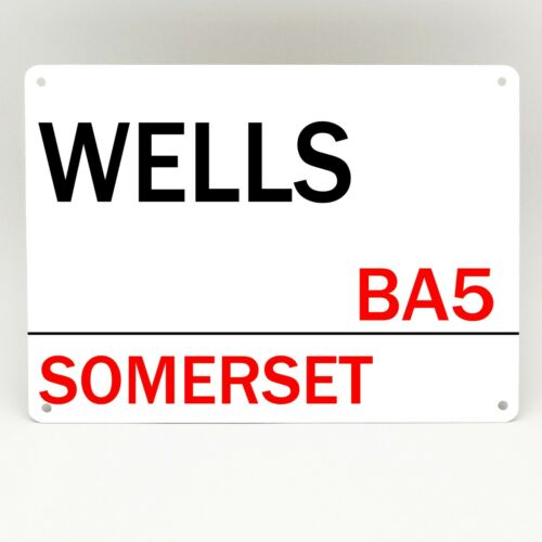 Wells Métal Rue Signe Rétro Vintage Somerset Personalised Plaque