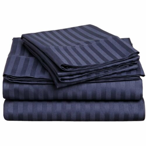 BRANDED BEDDING~ITEM 100/% Egyptian Cotton 800 TC USA Sizes Navy Blue Stripe