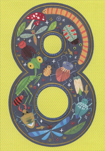 Bugs Age 8  8th Birthday Card for Boy with Stickers Cute Insects
