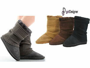 NEW Women Shoes Boots Suede Comfort Faux Fur Line Warm ... Grey Cardy Uggs