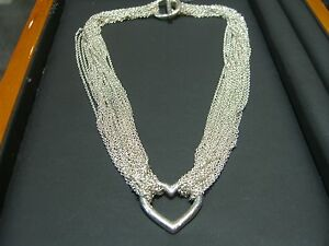 Tiffany And Co Sterling Silver 10 Chain Heart Toggle Necklace 16 Quot New Ebay