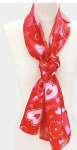 "VALENTINES DAY LOVE HEARTS RED PRINT SATIN STRIPE 13"" X 60"" SCARF"