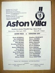 Southern Junior Floodlit Cup Semi Final 1979- ASTON VILLA v COVENTRY CITY, 18/04