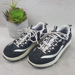 Details about Skechers Shape Ups 9.5 Sneakers Black White Rocker Toning Shoes Lace Up Womens