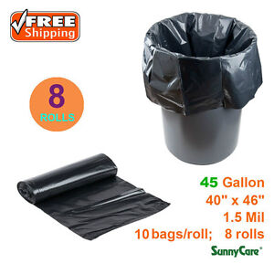 "45 Gallon 1.5 Mil 40"" x 46"" Low Density Can Liner / -Trash Bag 80 / Case"