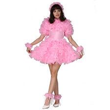 Forced Sissy Lockable Pink Satin Organza Fluffy Dress Uniform Costume Male
