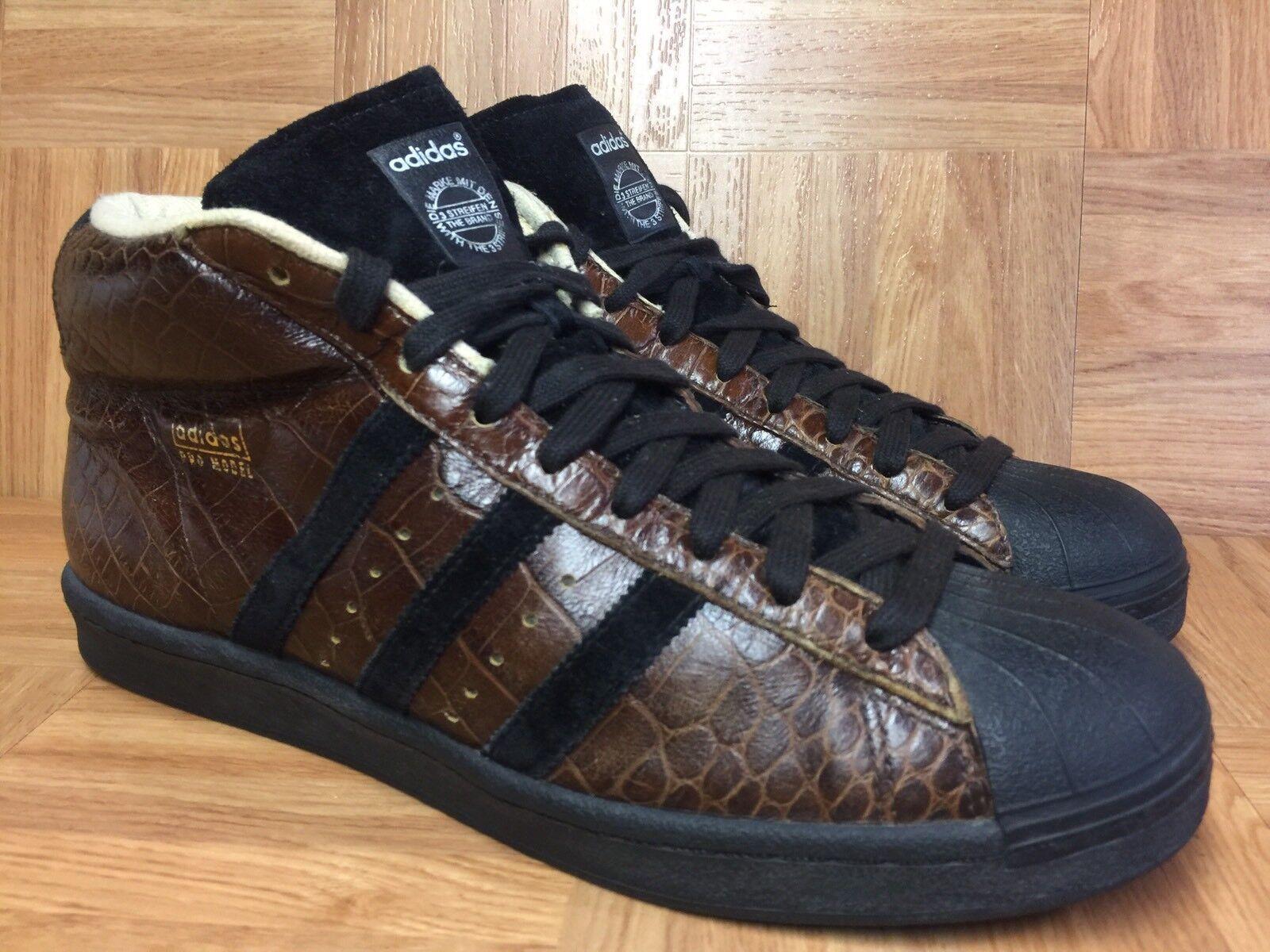 RARE� Adidas Pro Model Brown Black Croc Reptile Leather Vintage Basketball 11.5