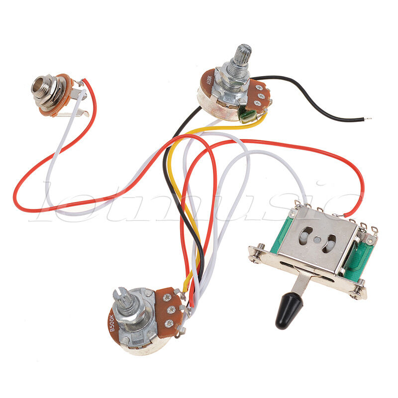 3 pickup guitar wiring harness prewired 1 volume 1 tone 500k pots 5 way switch ebay. Black Bedroom Furniture Sets. Home Design Ideas