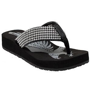 016a34fa1 Rhinestone Flip Flops Sandals Bling Black Wedge Thong Fashion Beach ...