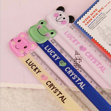 2Pcs 15cm Cute Plastic Ruler Creative Cartoon Ruler Kids Gift School Supplies