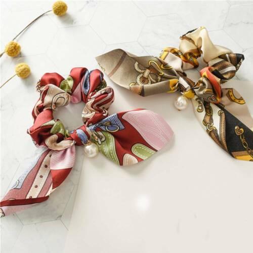 Big Bowknot Scrunchies With Pearl Print Flower Hair Ties Hair Hair Accessories