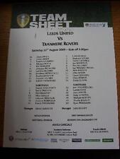 22/08/2009 Colour Teamsheet: Leeds United v Tranmere Rovers  (Pen On Front). No