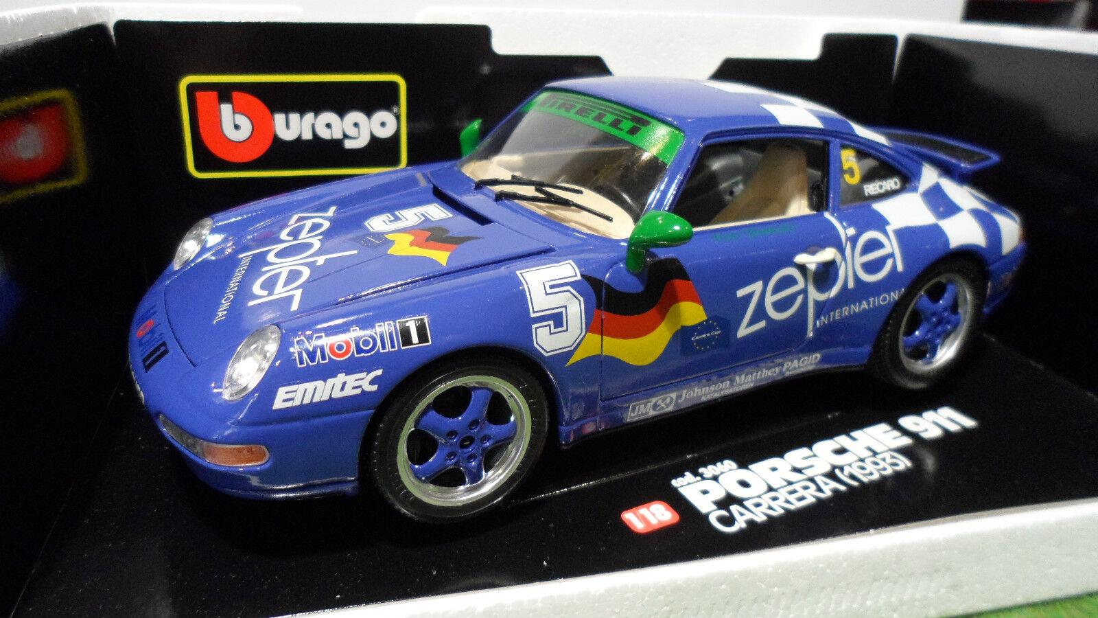 PORSCHE 911 CARRERA  5 Bleu 1 18 BURAGO voiture miniature Made  giovanni