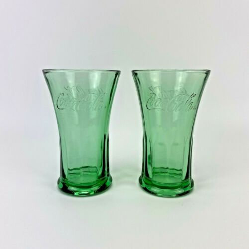 Coca Cola Green Flared Libbey Drinking Glasses Pair